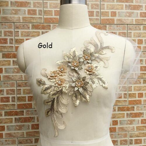 9 Colors 3D Flower Embroidery Beaded Pearl Applique Patch Sew on Wedding Dress