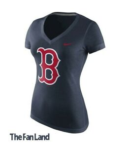 reputable site 50652 e87ae Details about New MLB Boston Red Sox Nike Women's V-Neck Logo T-Shirt