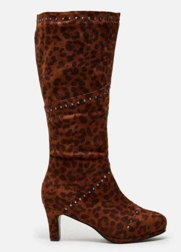 Ashley Stewart Studded Suede Wide Width /& Calf Animal Brown Boots Size 8W