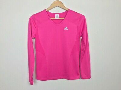 Aggressivo Adidas Donna T-shirt Taglia S Sport Atletico Scollo A V Manica Lunga Aderente Rinfresco