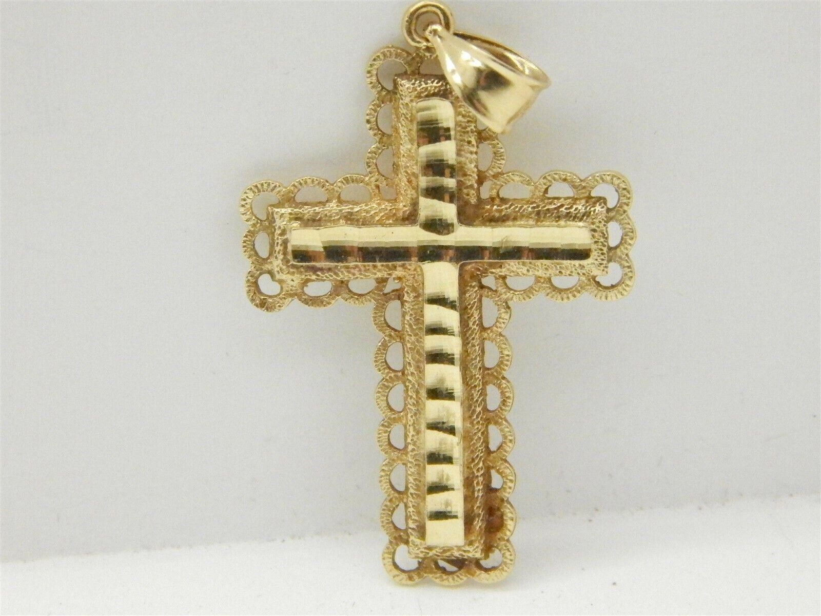 Unique  & Detailed 14K Yellow gold Diamond Cut Cross Pendant