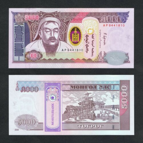 2018//2019 MONGOLIA 5,000 5000 TUGRIK P-68d UNC/>CHINGGIS KHAAN DRINKING FOUNTAIN