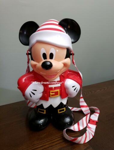 NEW Disney Parks Christmas Mickey Mouse Red /& White Elf Popcorn Bucket 2019