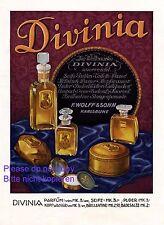 Parfüm Divinia XL Reklame 1925 Flacon Werbung W. Kusche Wolff Karlsruhe Parfum +
