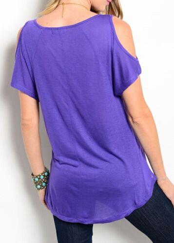Open//Split Cold Shoulder Short Sleeve Hi-Low Blouse Top S M L