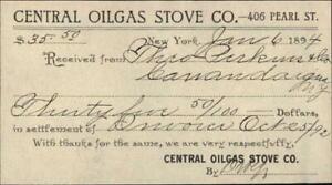 1984 Canandaigua New York (NY) Receipt CENTRAL OILGSD STOVE CO.