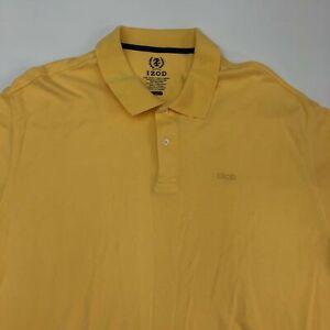 Izod Polo Shirt Men's Size 2XL XXL Short Sleeve Yellow Casual Golf Cotton