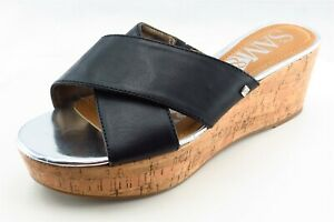 Sam & Libby Size 7.5 M Black Slides Synthetic Women Sandal Shoes