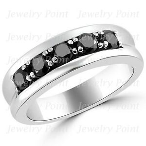 1 carat fancy black diamond mens mans wedding band 5 stone ring 14k