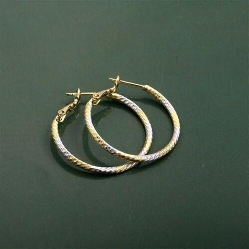 18k Yellow, White & Rose Gold Filled Three Tone Hoop Earrings (e-252)