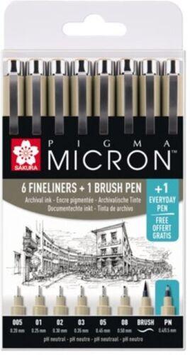 FREE PN Sakura Pigma Micron Set Black Archival 6 x Fine Line Pens,1 Brush Pen