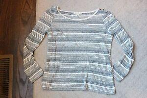 fe7683d26a Banana Republic White Blue Striped XS Long Sleeve Cotton Linen Top ...