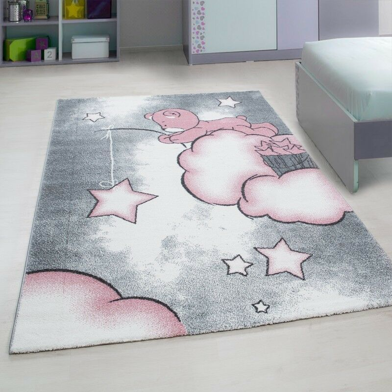 Childrens Room Rugs Kids Star Grau Rosa Nursery Carpets Baby Room