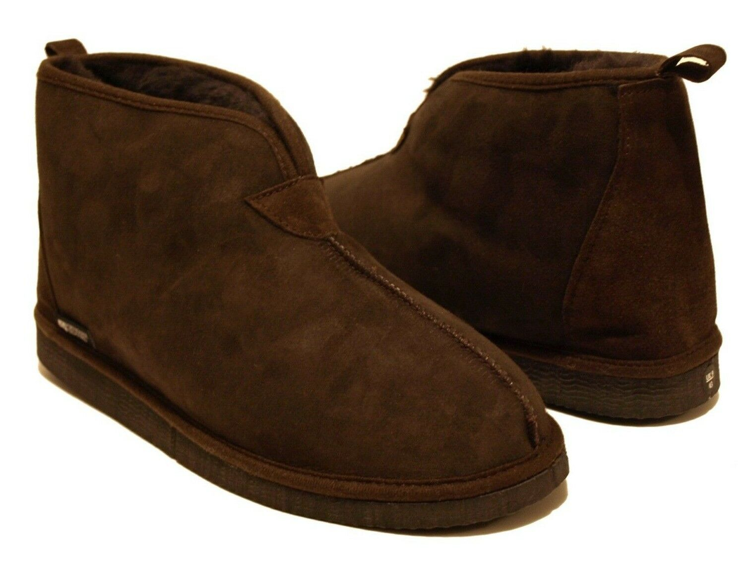 Mens Womens Womens Mens Merino Brown Sheepskin Slippers Ankle Boots Vegetable Tanned 4376d1