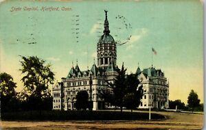 Hartford-CT-State-Capitol-1910-Vintage-Postcard-BB1
