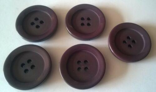 5 X 25mm Grande Púrpura Oscuro Gris Botones Redondos de Plástico-ZT4095