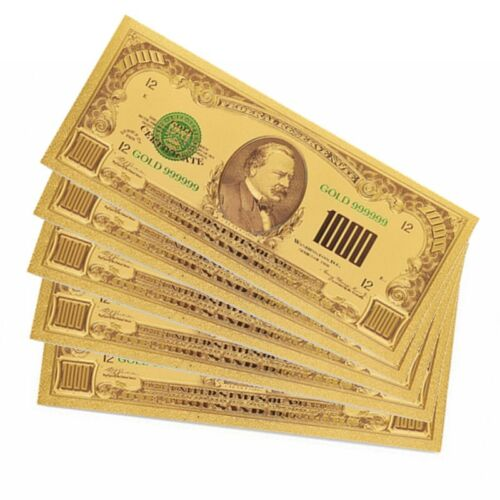 10pcs USA 1918 $1000 Banknote Gold Foil Banknote Currency Paper Collectible