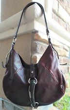 YSL YVES SAINT LAURENT MOMBASA HORN Distressed ALL Leather  HOBO BAG Authentic