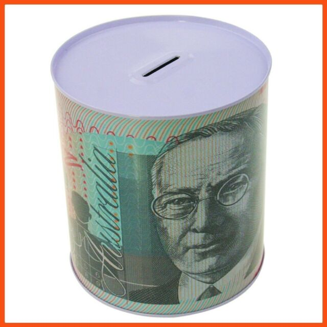 48 x MEDIUM AUSTRALIAN DOLLAR NOTE MONEY TIN BOX | Piggy Bank Coin Boxes Savings