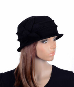 M495 Black Women s Cute Flower Wool Acrylic Winter Beanie Hat Cloche ... 29427c740782