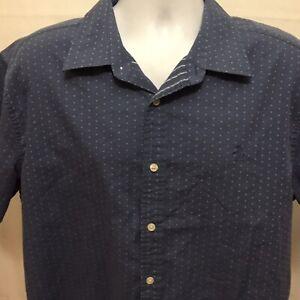 Penguin-Mens-Classic-Fit-Short-Sleeve-Button-Front-Shirt-Sz-XL-Blue