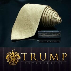 DONALD-J-TRUMP-SIGNATURE-COLLECTION-Gold-Paisley-NECKTIE-POWER-TIE