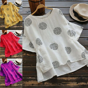Women-039-s-Plus-Size-Half-Sleeve-Loose-Polka-Dot-T-Shirt-Casual-Blouse-Tops