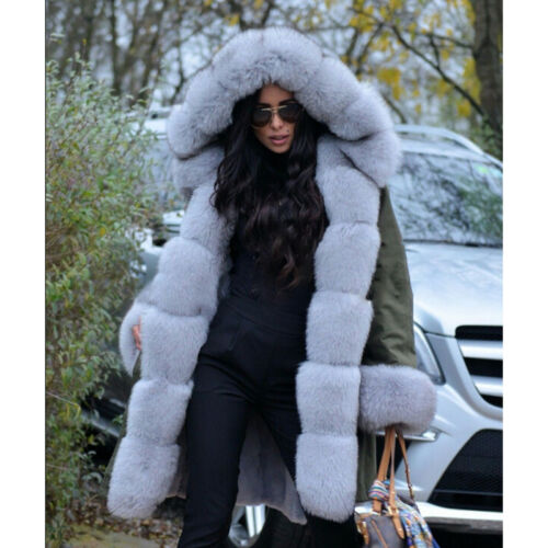 Cuff Fur Parka Casual Fox Winter Coat Thick With Vulpes Women's And Collar gzAwq