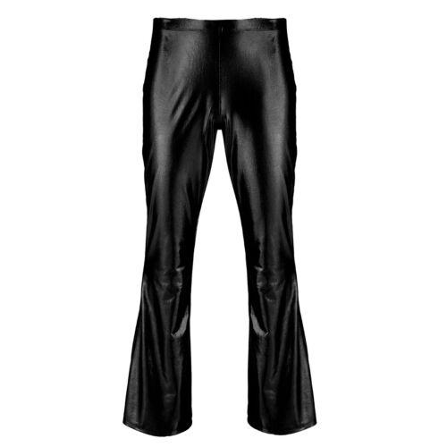 Men Metallic Disco Trousers Bell Bottom Long Pants Flared Fancy Dress Costumes