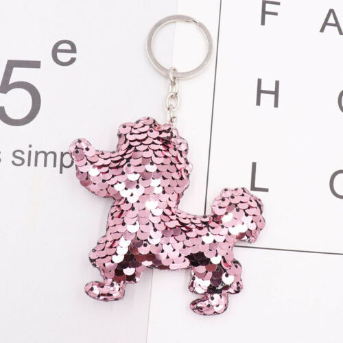Lovely Keychain Glitter Pompom Sequins Keychain Key Ring Pendant Accesories