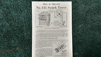 Lionel 445 Switch Tower Instructions Photocopy