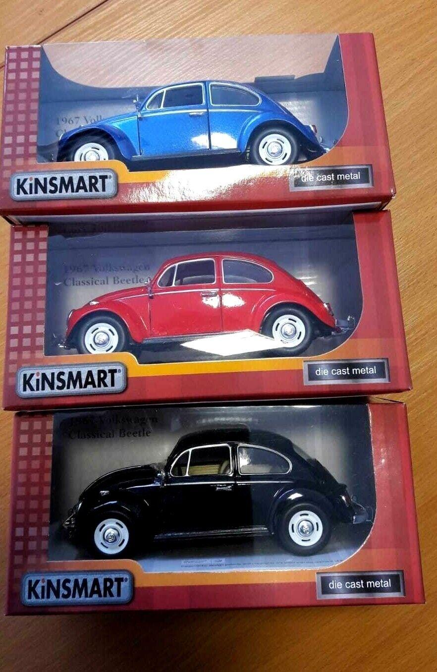 Set of 3 Kinsmart 1967 Volkswagen Classic Beetles 1 24