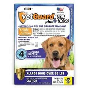 4-Month-Flea-amp-Tick-Control-DROPS-for-XL-Dogs-66-lbs-amp-up-Vetguard-Plus-Best-Val