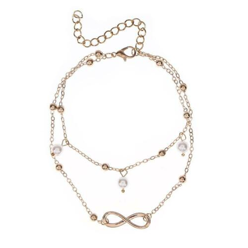 Simple Beach Women Pearl Anklet Leg Bracelet Ankle Chain Jewelry Gift//Gold