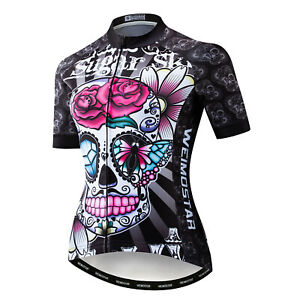 WEIMOSTAR Cycling Jersey Bike Skull Tops Shirt Short Sleeve Bicycle Clothing
