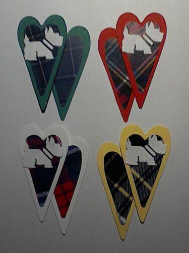 Westies on Tartan Hearts Westie Dogs Die Cuts Toppers//Scrapbook