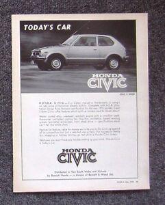 HONDA-CIVIC-HATCH-1976-Vintage-Automotive-Car-Magazine-Page-Sales-Advertisement