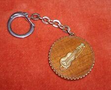 门的密钥 Porte-clé Keychain instrument musique Guitare de G. Brassens support bois