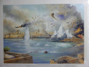 EDWIN-GALEA-HMS-Illustrious-At-Malta-1941-SIGNED-ART-PRINT-Nautical-World-War-II