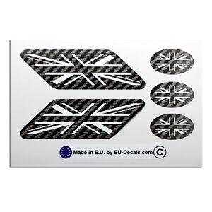 5X UK Union Jack flags Carbon fiber/white Laminated Decals Stickers for Triumph