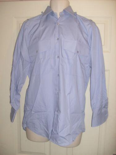 Mens boys long sleeve BLUE office pilot shirt Epaulette Loops cadet Police etc
