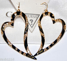 NWT Guess Gold Metal-Stones-Black Enamel Stripe Heart Earrings-Exclusive Line
