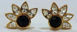 SWAROVSKI-GOLD-TONE-CRYSTALS-SWAN-SAL-SIGNED-BLACK-amp-WHITE-CLIP-ON-EARRINGS