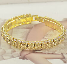 Around Champagne CZ 9K Yellow Gold Filled Womens Bracelet 180*11m F3246