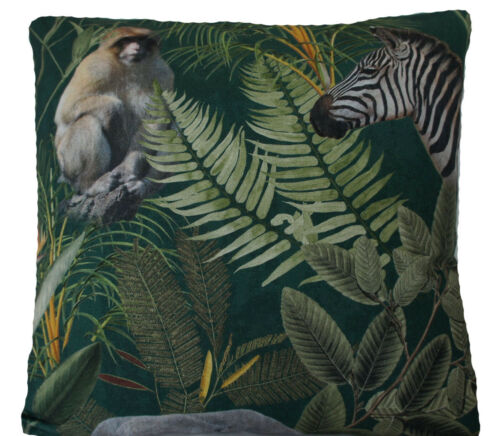 Monkeys Cushion Cover Tigers Giraffes Jungle Forest Green Printed Cotton Fabric