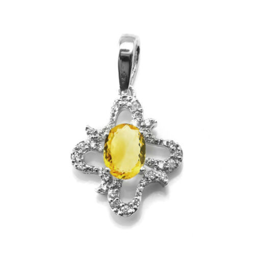 Details about  /Sterling Silver Pendant Yellow Citrine Natural Gemstone Oval Cut Floral