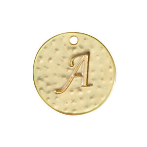 Letter /'L/' Disc Charm Pendant 15mm Matte Gold Plated Pack of 1 R53//10