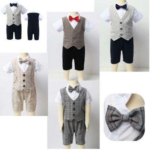 Toddler Infant Baby Boys Romper Jumpsuit Kids Waistcoat Gentleman Summer Clothes