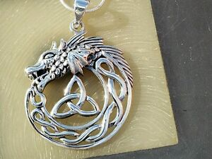 Sterling-Silver-Celtic-Dragon-Triquetra-Pendant-with-20-034-Italian-Snake-Chain