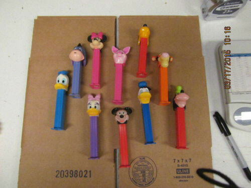 Vintage Lot of 10 Pez Dispensers with Feet Mickey Mouse, Donald Duck, and More